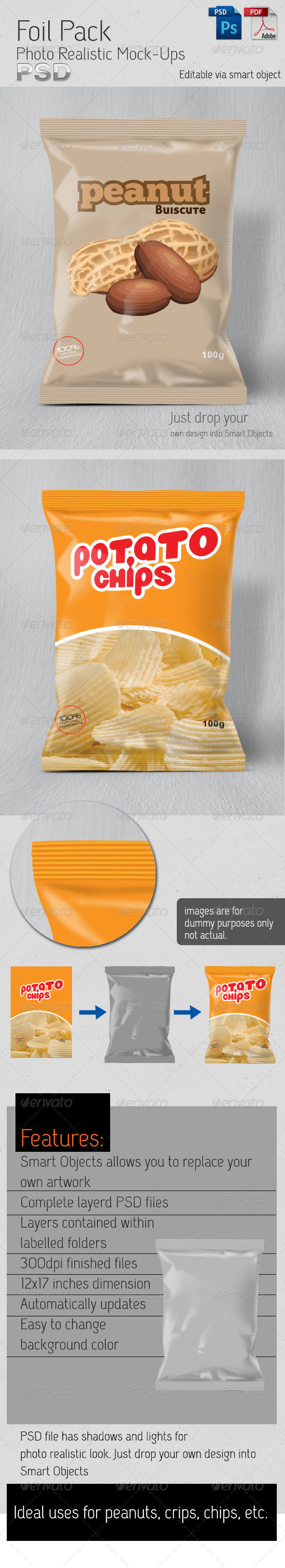 Foil Pack Photo Realistic Mock-Up - Food and Drink Packaging