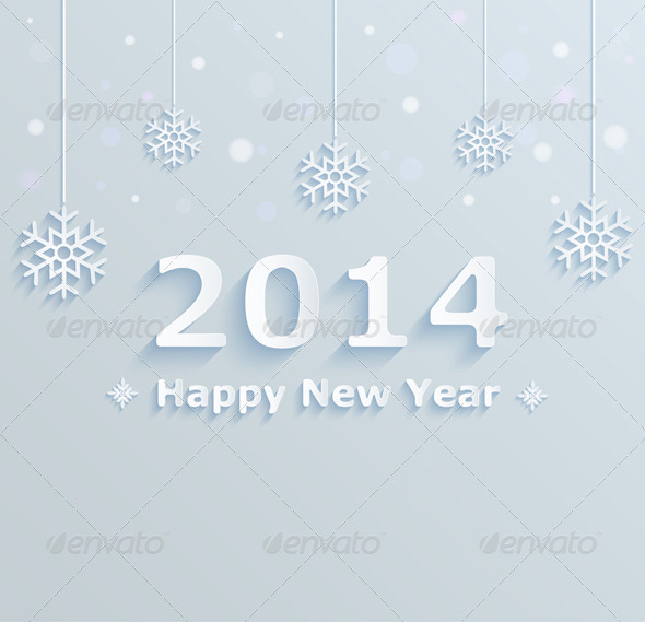 Festive Background with Snowflakes - New Year Seasons/Holidays