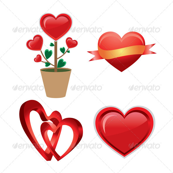 Set of a Red Valentine Heart  - Valentines Seasons/Holidays