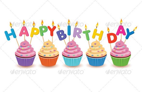 Happy Birthday Cupcakes Isolated - Birthdays Seasons/Holidays