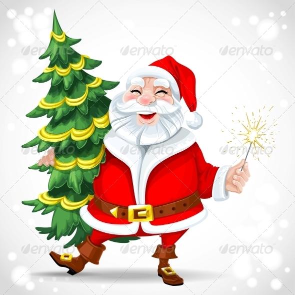 Santa Claus holding Christmas Tree - Christmas Seasons/Holidays