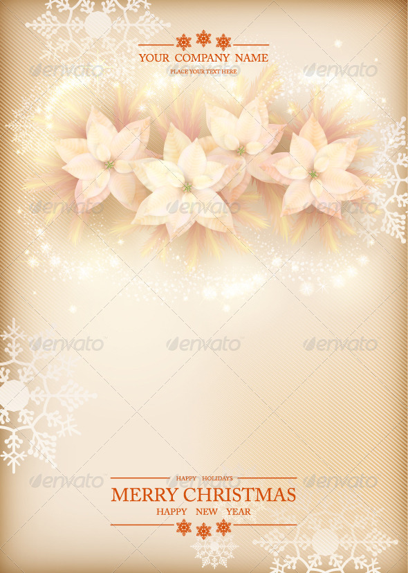 Christmas Poinsettias Celebration Background - Christmas Seasons/Holidays