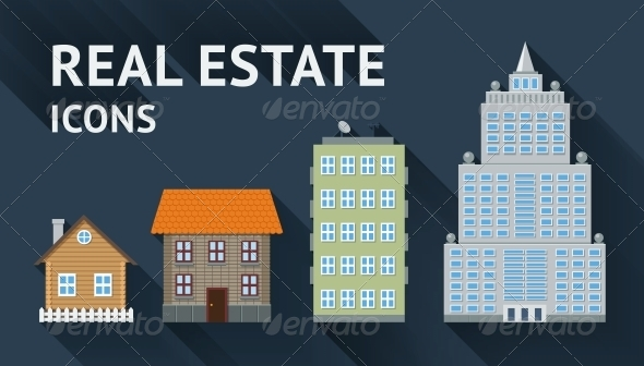 Real Estate Icons Set - Industries Business