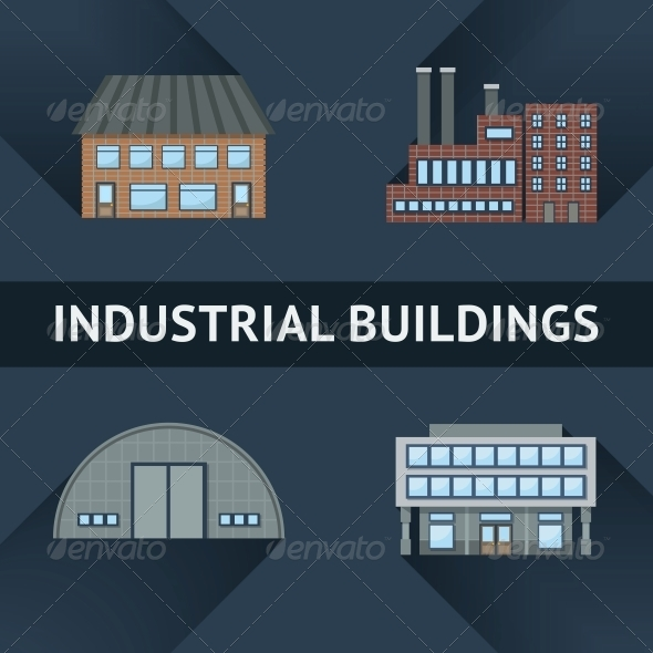 Industrial and Business Building Icons - Industries Business