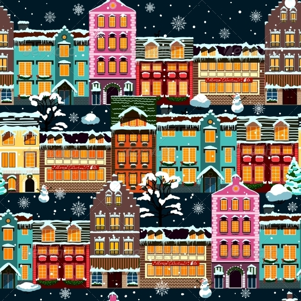 Winter Houses Seamless Night - Backgrounds Decorative