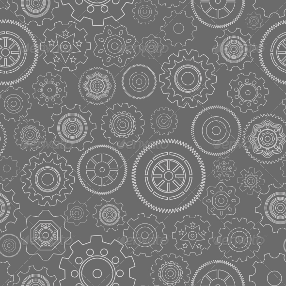 Dark Seamless Gear Wheels Pattern - Backgrounds Business