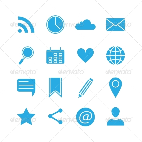 Silhouette Social Media Icons Set - Web Technology
