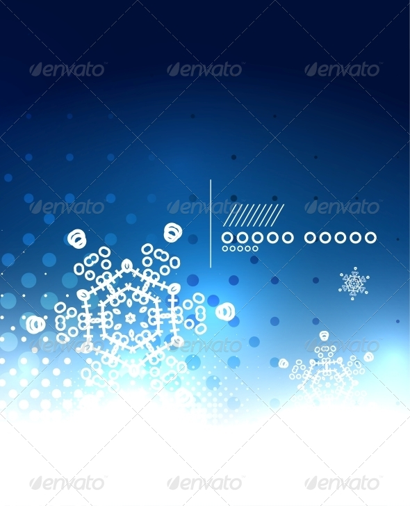 Blue Magic Sky and Snowflakes Winter Background - Christmas Seasons/Holidays