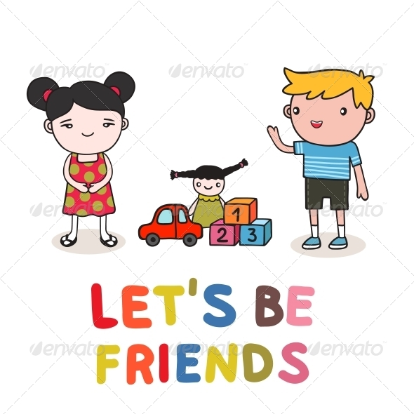 Kids Friendship - People Characters