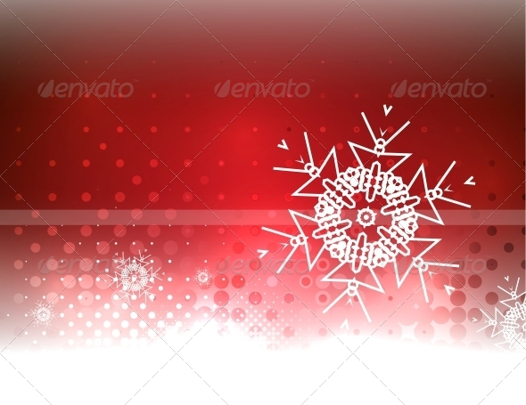 Abstract Red Sky and Snowflake Background - Christmas Seasons/Holidays