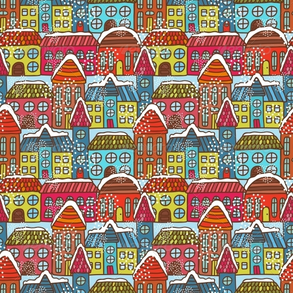 Winter Houses Seamless Pattern - Backgrounds Decorative