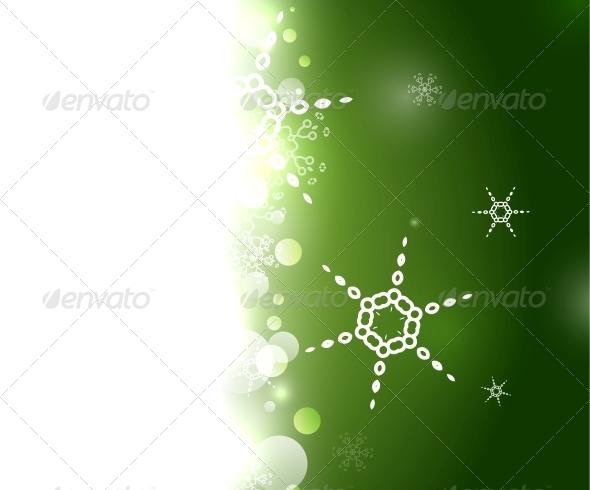 Green Christmas Snowflake Geometric Background - Christmas Seasons/Holidays