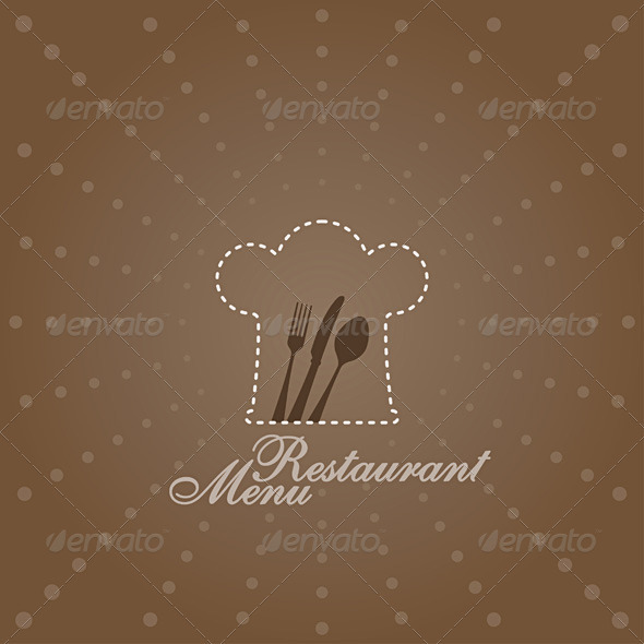 Menu Illustration with Chef Symbol - Backgrounds Business