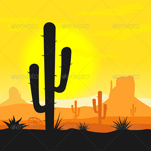 Cactus plants in desert - Backgrounds Decorative