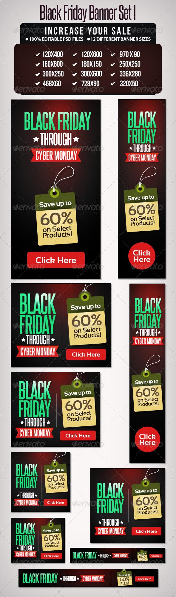 Black Friday Banner Set - 1  - Banners & Ads Web Elements