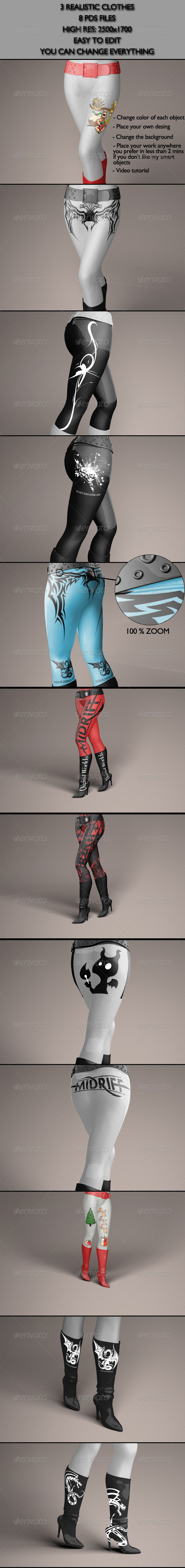 Realistic Clothes/Pants/Belts/Heels Mock-Ups - Miscellaneous Apparel