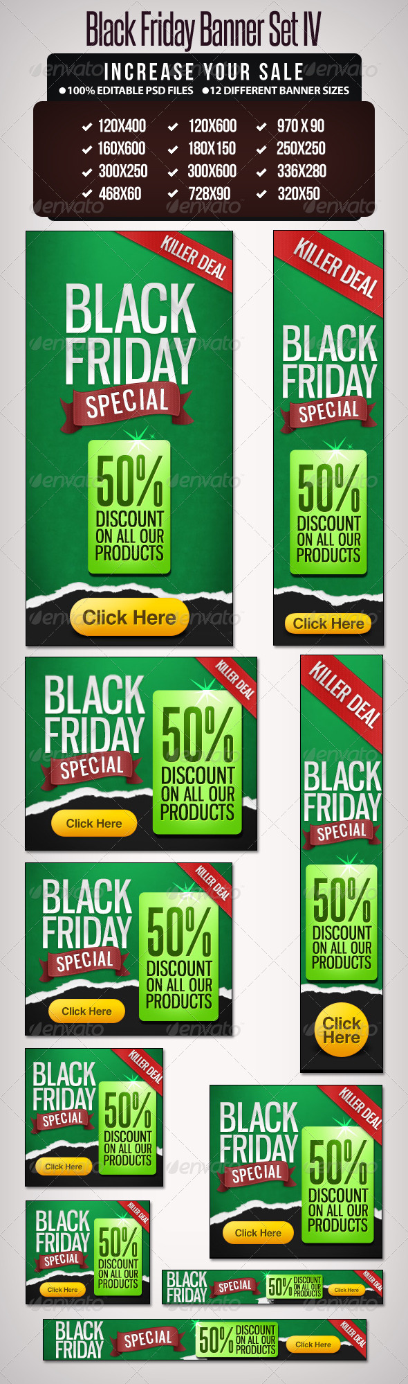 Black Friday Banner Set - 4 - Banners & Ads Web Elements