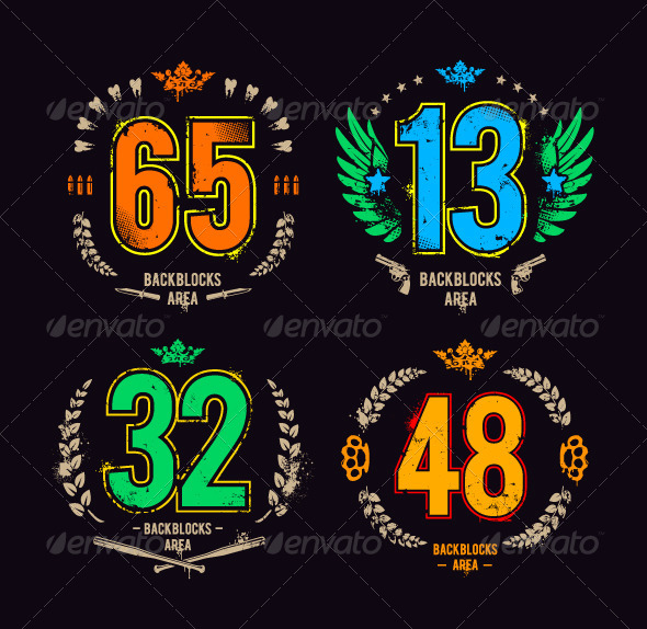 Grunge Gangster Lucky Numbers - Vectors