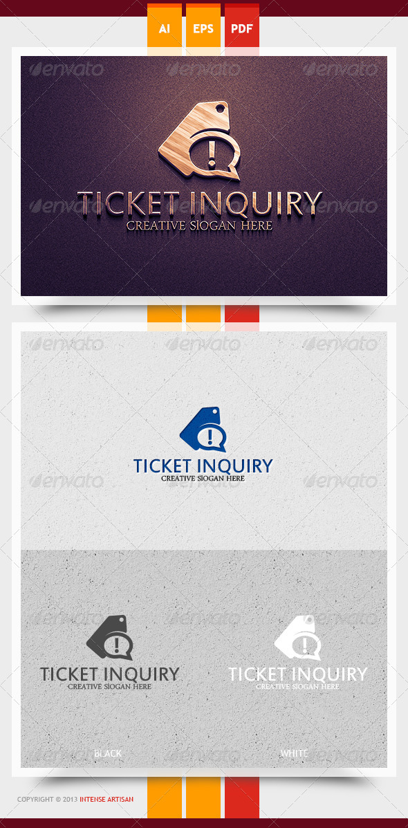 Ticket Inquiry Logo Template - Objects Logo Templates