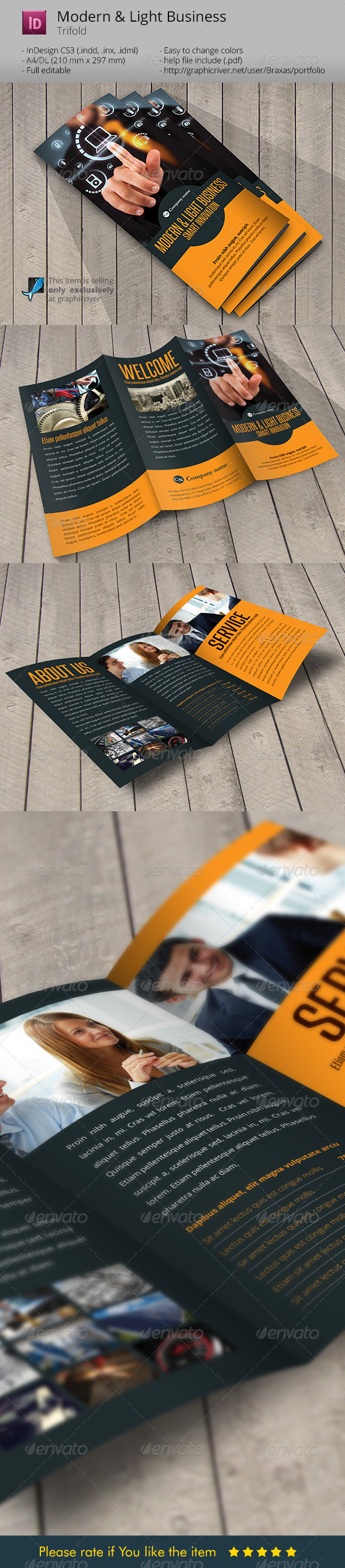 Modern and Light Business Indesign Template - Informational Brochures