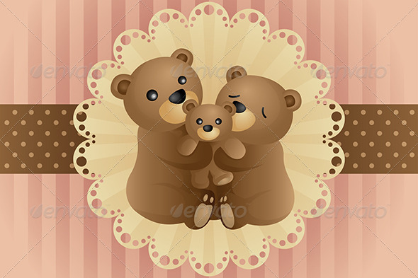 Bear Family Hugging - Decorative Vectors