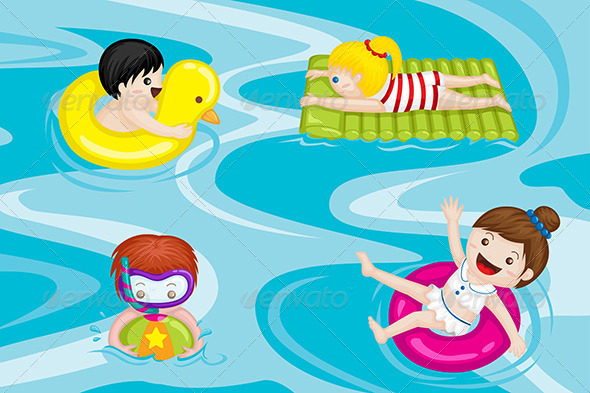 Kids in Swimming Pool - Sports/Activity Conceptual