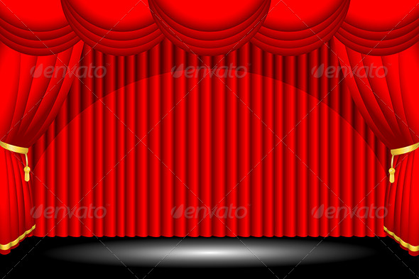 Red Stage Background - Decorative Vectors