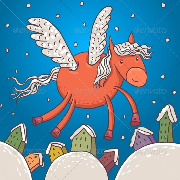 Horse with Wings, Vector Illustration - Patterns Decorative
