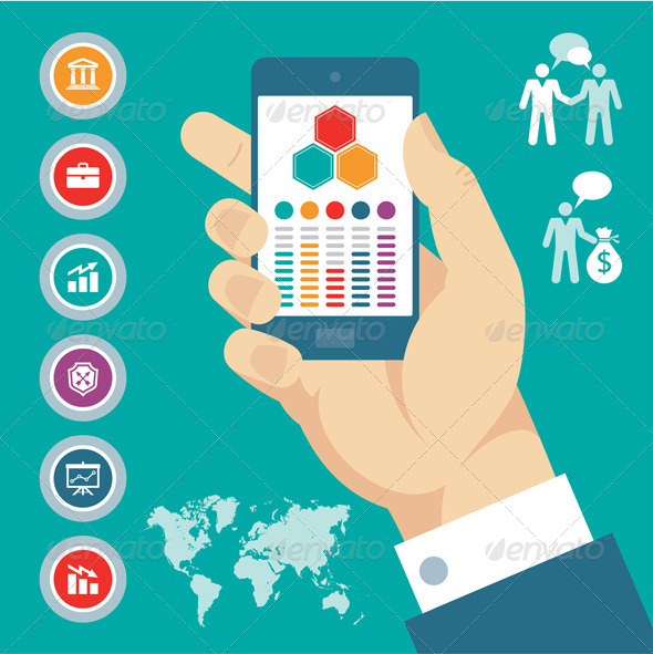 Mobile Phone in Hand & Vector Business Icons - Communications Technology