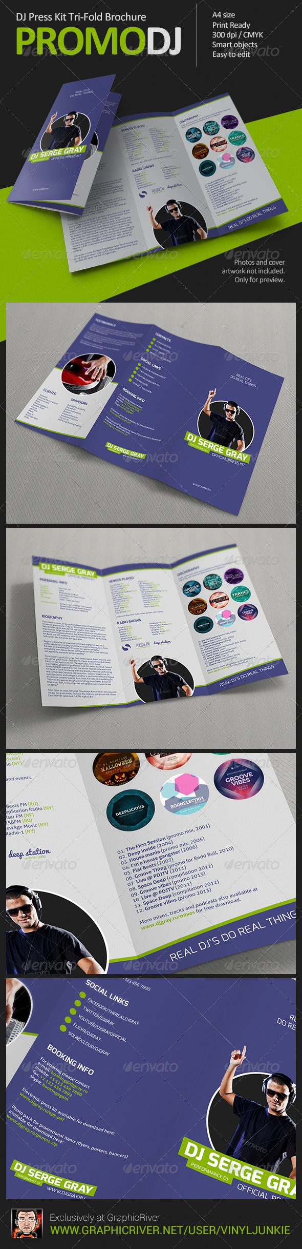 PromoDJ - DJ Press Kit Tri-Fold Brochure - Informational Brochures