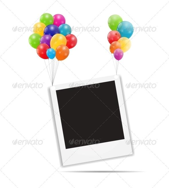 Color Glossy Balloons Birthday Card - Birthdays Seasons/Holidays