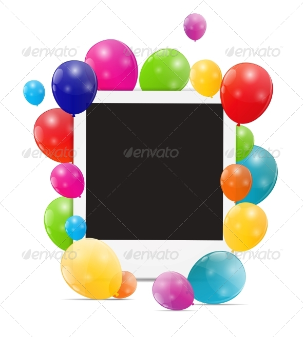 Color Glossy Balloons Birthday Card - Birthdays Seasons/Holidays