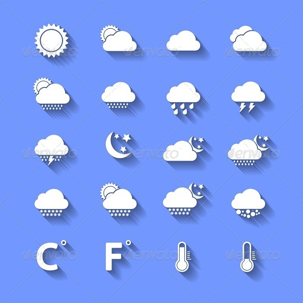 White Weather Icons With Shadows - Seasonal Icons