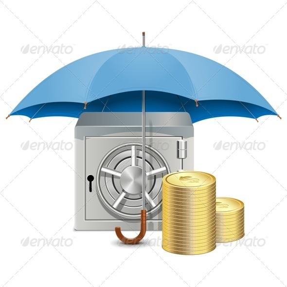 Vector Umbrella and Safe - Concepts Business