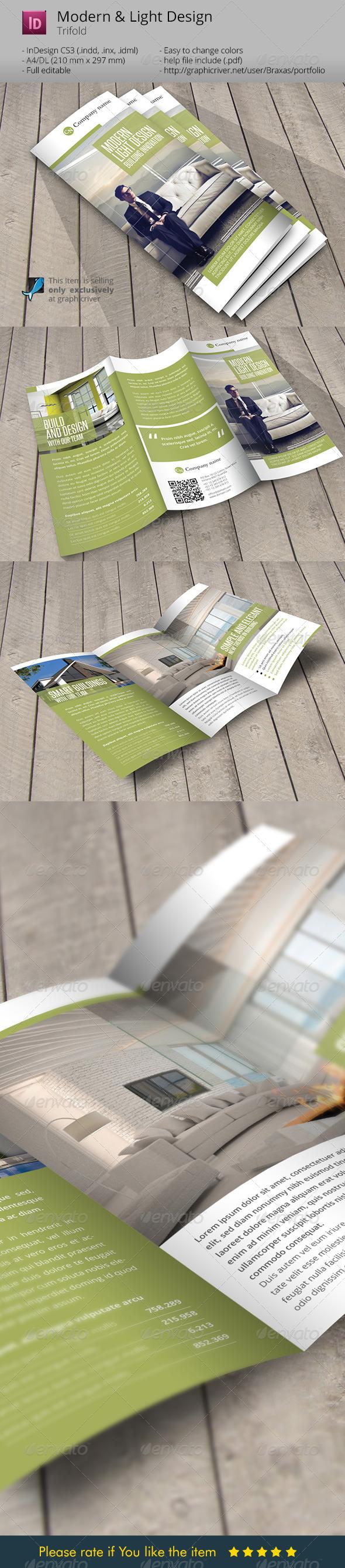Modern and Light Design Indesign Template Brochure - Informational Brochures