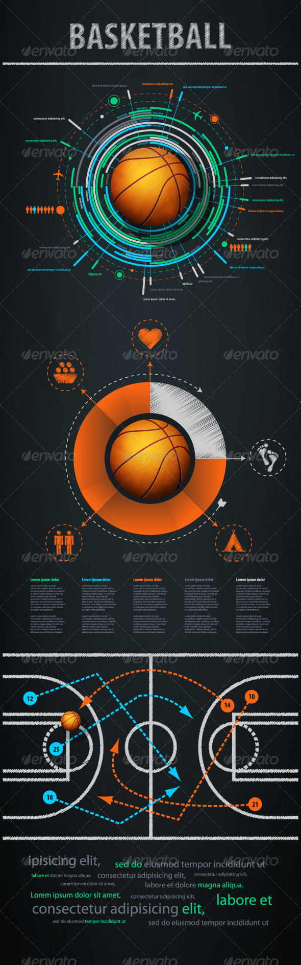 Infographics element with sports basketball Ball - Infographics
