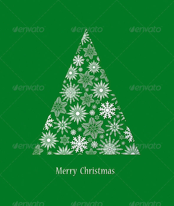 Card with Christmas Tree - Decorative Symbols Decorative