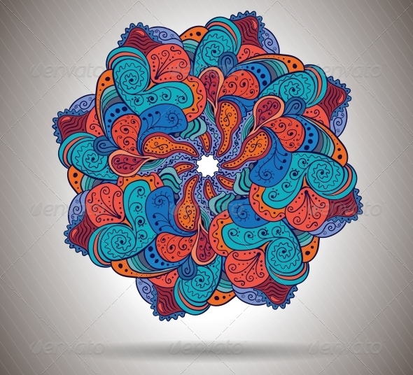 Vector Abstract Flower with Floral Ornament - Abstract Conceptual