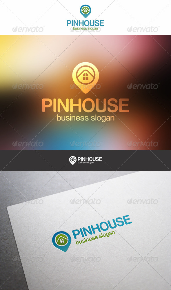 Pin House Building Logo - Buildings Logo Templates
