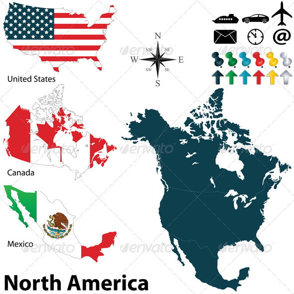 Political Map of North America - Travel Conceptual