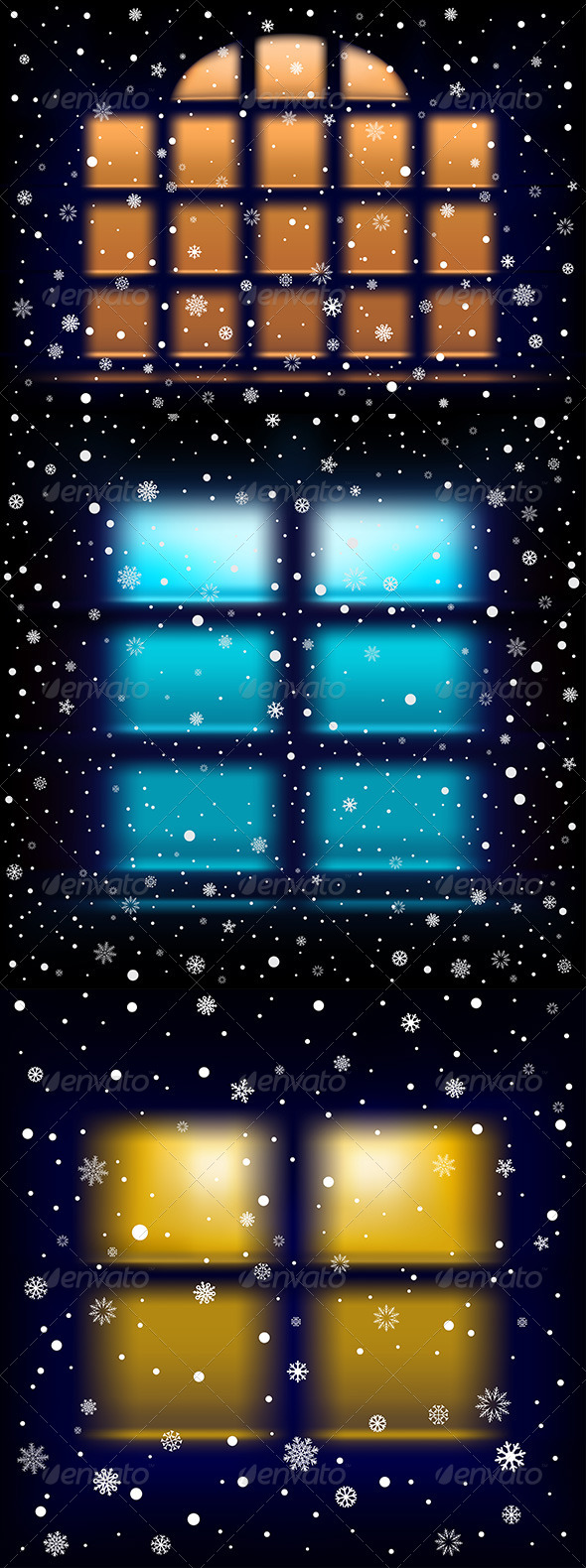 Snow Night Window - Christmas Seasons/Holidays