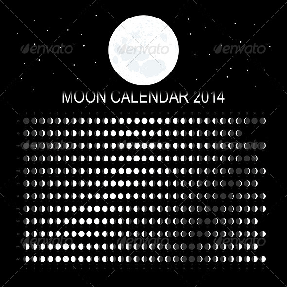 Moon Calendar 2014 - Decorative Symbols Decorative