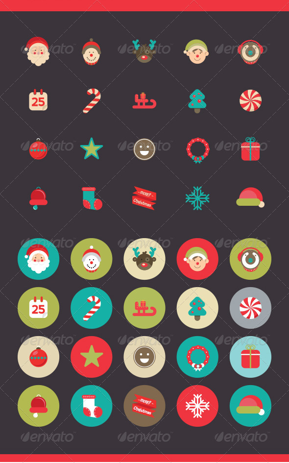 Christmas Icons Set  - Seasonal Icons