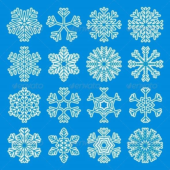 White Snowflakes Icons - Christmas Seasons/Holidays