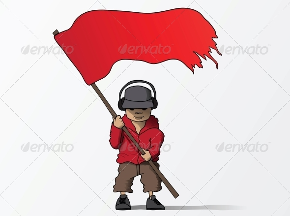 Man with Red Flag Cartoon - People Characters