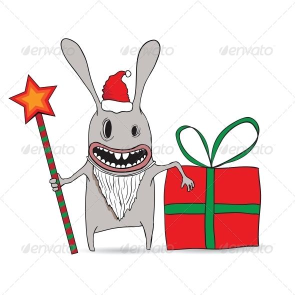 Cartoon Illustration of a New Year Rabbit - New Year Seasons/Holidays