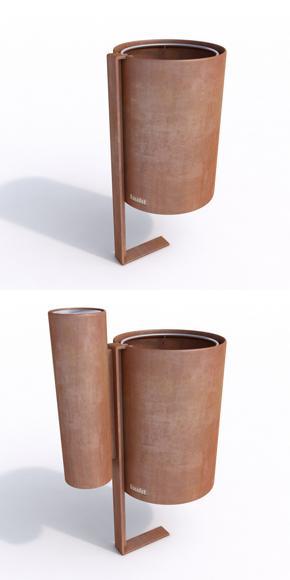 Litter Bin and Ashtray- Escofet MORELLA - 3DOcean Item for Sale