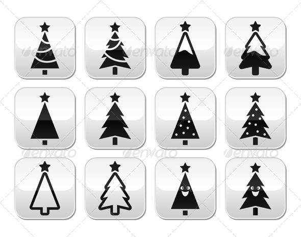 Christmas Tree Buttons Set - Christmas Seasons/Holidays