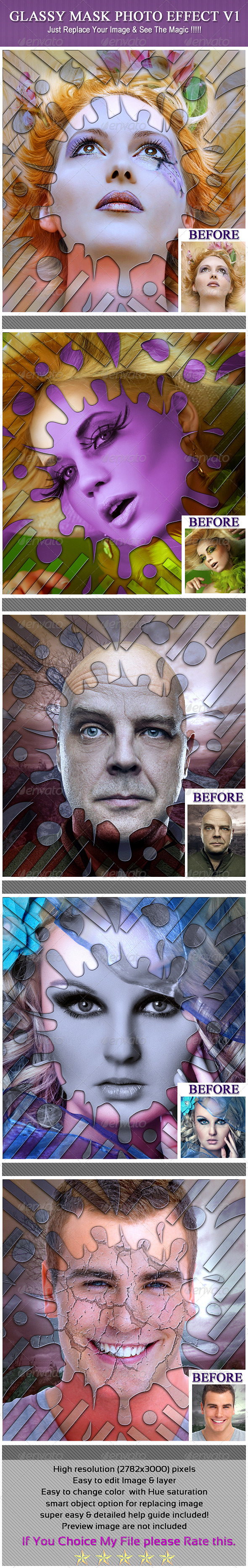 Glassy Mask Photo Effect V1 - Photo Templates Graphics