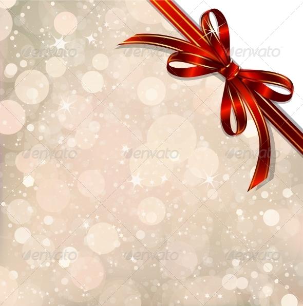 Red Bow on a Magical Christmas Over.  - Christmas Seasons/Holidays